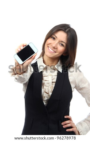 Young Woman Showing display of new touch mobile cell phone on a white background. Focus on hand with cellphone