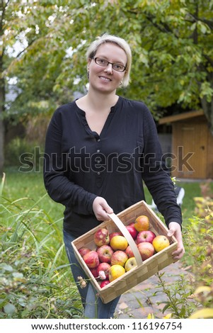young woman showing fresh picked apples.