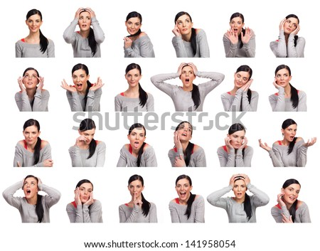Young woman showing several expressions, isolated on white background.