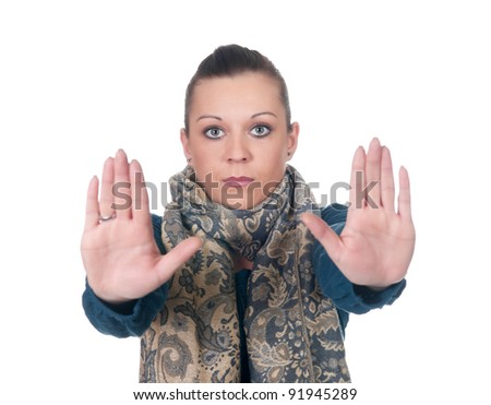young woman showing stop gesture - stock photo