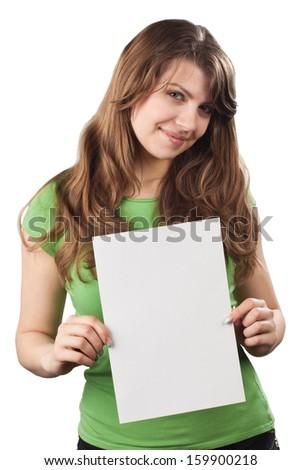 Young woman showing white blank placard, isolated on white background