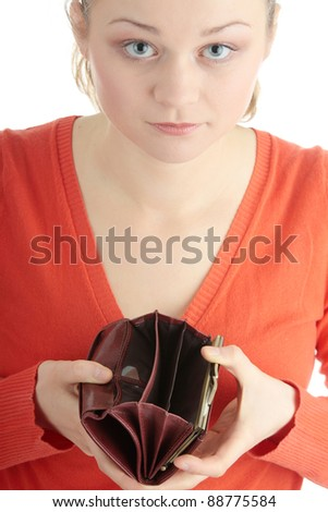 Young woman shows her empty wallet, isolated on white