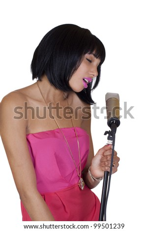 Young Woman Singing Eyes Closed Condenser Microphone
