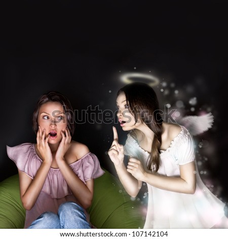 Young woman sitting at home and beautiful angel coming to her and giving a good suggestion