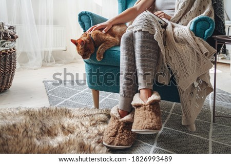 Young woman sitting in a cozy armchair, with a warm blanket, together with a domestic cat
