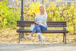 Young woman sitting on a bench and using mobile phone while walking her dog in a park