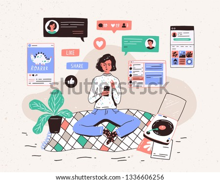 Young woman sitting on floor at home, holding smartphone and chatting in messenger or social network. Internet communication, online instant messaging or information exchange. illustration