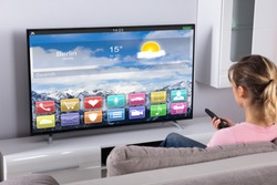 Young Woman Sitting On Sofa Using Remote Control In Front Of Television