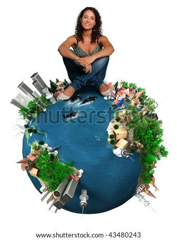 Young woman sitting on top of a symbolic planet Earth