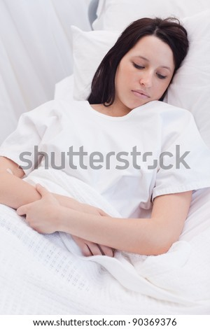 Young woman sleeping in the hospital