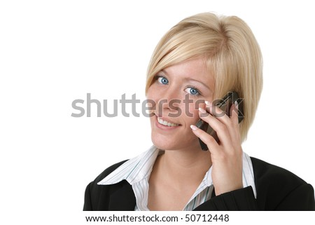 Young woman smiling while talking on her mobile phone isolated on white