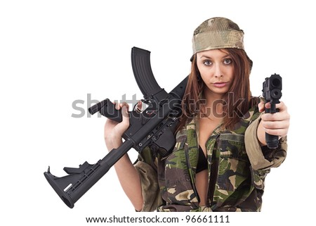 Young woman soldiers posing with guns, isolated on white background