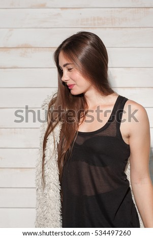 Young Woman Standing In Night Dress Side View Beautiful Lady Preparing For Sleep Wearing