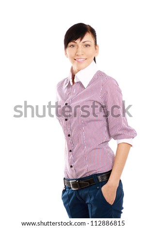 Young woman standing isolated on white background