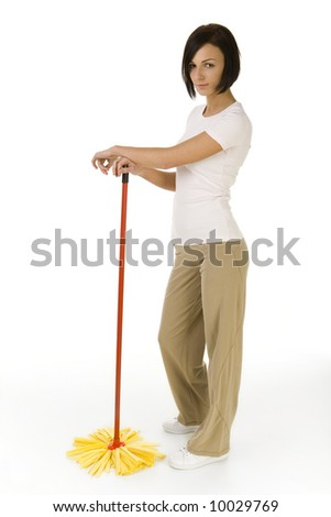 Young woman standing with mop and looking at camera  Whole body  Side    Woman Standing Side White Background