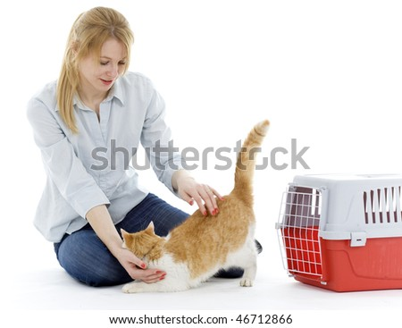 young woman strokes goes out from transporter cat