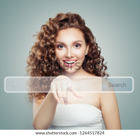 Young woman student pointing to empty address bar in virtual web browser. Seo, internet marketing, www or distance learning concept #1264517824