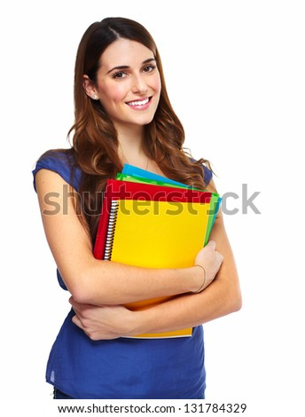 Young woman student with a book. Isolated on white background.