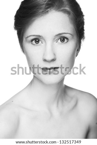 Young woman studio fashion portrait. Black and white.