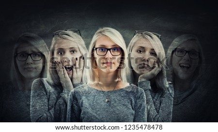 Young woman suffer split emotions into five different inner personalities. Multipolar mental health disorder concept. Schizophrenia psychiatric disease. Face expressions and reactions mood change.