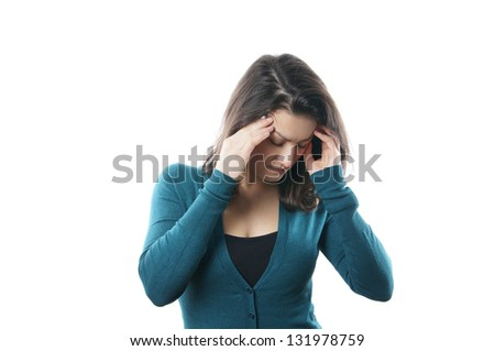 young woman suffering from migraine - stock photo