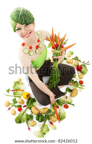 young woman surrounded by colorful vegetable isolated on white background