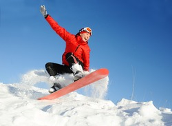 Young woman take fun on the snowboard
