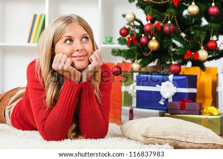 Young woman thinking about holidays,Waiting for holidays