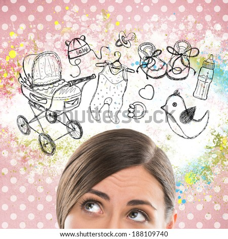 Young woman thinking of her pregnancy plans closeup face portrait and sketches overhead
