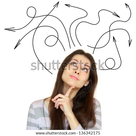Young woman thinking with many arrows above the head isolated on white background