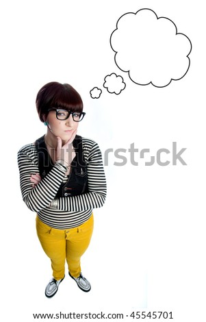 young woman thinking with thought bubble