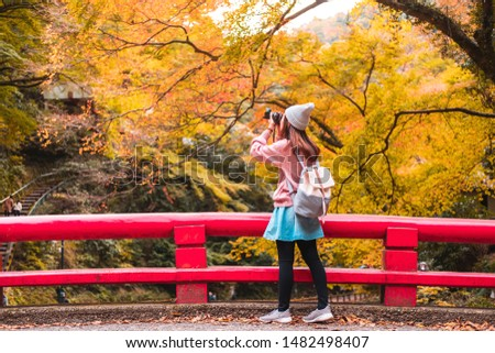 Young woman traveler looking and photographing beautiful autumn in Japan, Travel lifestyle concept