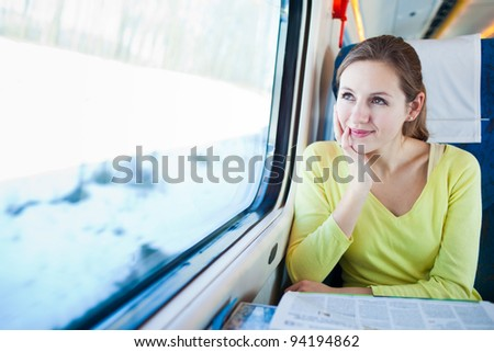 Young woman traveling by train #94194862