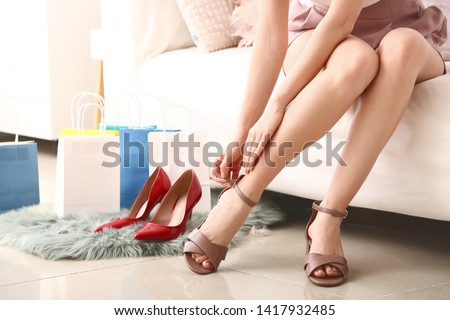 f9d9c5f6168 Choosing right shoes for today. Close… Stock Photo 305219867 ...
