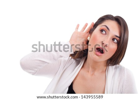 Young woman trying to listen something