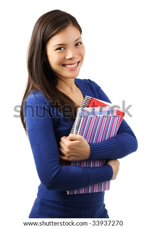 Young woman university student with notebooks. Isolated on white. - stock photo
