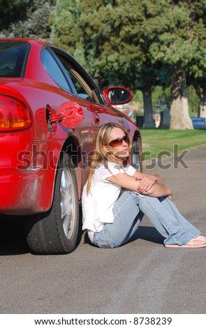 Young Woman Waiting for Gas