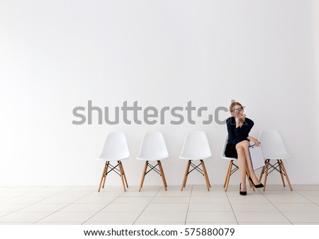Young woman waiting for job interview #575880079
