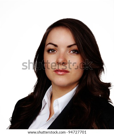 young woman wearing a business suite shot on the studio