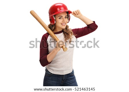 Young woman wearing a helmet and holding a baseball bat isolated on white background