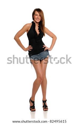 Young Woman wearing a mini skirt  posing