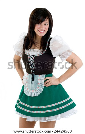 Young Woman Wearing A St Patricks Day And Oktoberfest Costume