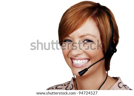 young woman wearing a telephone headset on a call