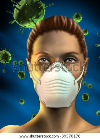 Young woman wearing an health mask to protect from airborne viruses. Female figure created from scratch. Digital illustration.