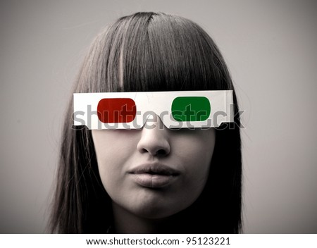 Young woman wearing 3d glasses