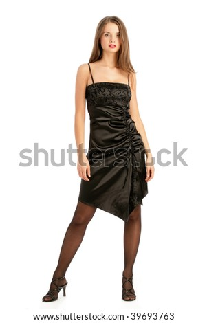 Young woman wearing elegant cocktail dress isolated on white background