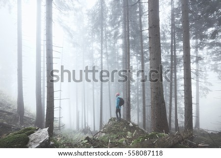 Young woman wearing hardshell waterproof jacket, trekking shoes and backpack exploring stunning autumn foggy forest in mountains - nature lovers, hiking or adventure concept