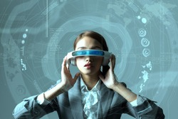 young woman wearing head mount display and futuristic GUI, smart glasses, graphical user interface, heads up display, Internet of Things