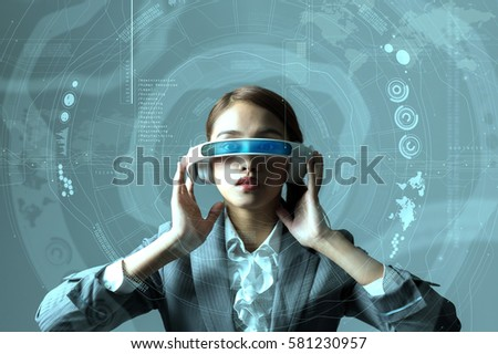 young woman wearing head mount display and futuristic GUI, smart glasses, graphical user interface, heads up display, Internet of Things #581230957