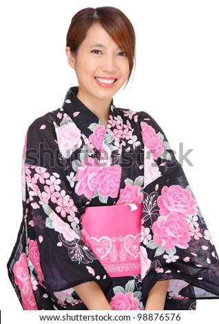 young woman wearing Japanese kimono
